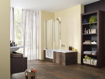 """Zitta Corner Duett Bathtub with Shower Door 63"""" x 29 1/2"""" x 80 11/16"""" Right Hand Acrylic Skirt"""