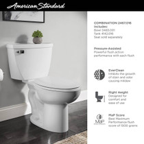 American Standard Cadet Right Height Elongated Pressure-Assisted Toilet – 1.6 GPF, Seat Not Included