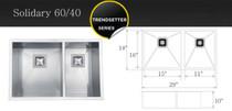 "Castle Bay Solidary 60/40 (29"" x 18"" x 10"") Zero Radius Stainless Steel Sink"