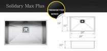 "Castle Bay Solidary Max Plus (28"" x 18"" x 10"") Zero Radius Stainless Steel Sink"
