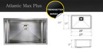 "Castle Bay Atlantic Max Plus (27"" x 18"" x 9"") Stainless Steel Sink"