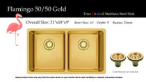 """Castle Bay Flamingo 50/50 Gold (31"""" x 18"""" x 9"""") Stainless Steel Sink"""