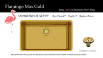 """Castle Bay Flamingo Max Gold (31"""" x 18"""" x 9"""") Stainless Steel Sink"""