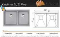"""Castle Bay Kingfisher 50/50 Grey (33"""" x 19"""" x 9"""") Stainless Steel Ledge Sink"""