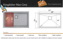 """Castle Bay Kingfisher Max Grey (31"""" x 19"""" x 9"""") Stainless Steel Ledge Sink"""