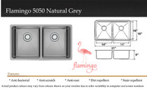 """Castle Bay Flamingo 50/50 Natural Grey (31"""" x 18"""" x 9"""") Stainless Steel Sink"""