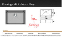 """Castle Bay Flamingo Mini Natural Grey (23"""" x 18"""" x 9"""") Stainless Steel SInk"""