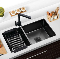 "Castle Bay Hummingbird Super 60/40 Black (33"" x 18"" x 9"") Stainless Steel Sink"