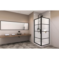 Zitta Materia 32'' Pivot Shower Door Matte Black + Materia 32'' Return Panel Matte Black