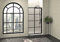 Zitta Mecanex Sliding Shower Door, Alcove 1 Door, 1 Fixed Matte Black