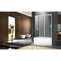 "ZItta Caldara 60"" Alcove Sliding Bathtub Door, 2 Doors, 1 Fixed"