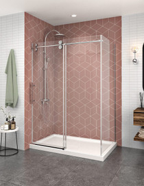 Zitta Matrix Corner Closing on Return Panel Rolling Shower Door