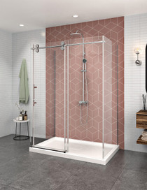 Zitta Matrix On Wall Rolling Shower Door, 1 Fixed, 2 Returns
