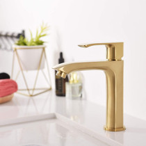 Royal Slim Single Hole Bathroom Faucet Brushed Gold