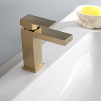 Royal Square Single-Hole Single Handle Bathroom Faucet Brushed Gold