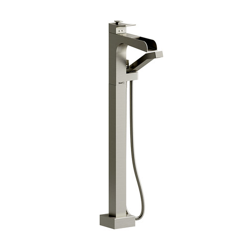 Riobel Zendo Floor-Mount Type T/P (Thermostatic/Pressure Balance) Coaxial Open Spout Tub Filler with Hand Shower Brushed Nickel