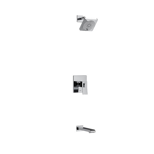 """Riobel Zendo Type T/P (Thermostatic/Pressure Balance) 1/2"""" Coaxial 2-Way No Share with Shower Head and Tub Spout Chrome"""