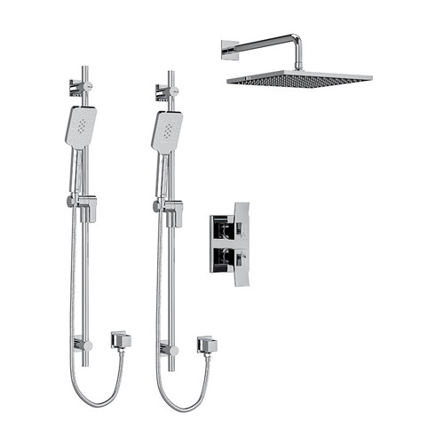 "Riobel Zendo Type T/P (Thermostatic/Pressure Balance) 3/4"" Double Coaxial System with 2 Hand Shower Rails, 4 Body Jets and Shower Head Chrome"