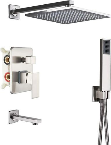 Royal Atlanta 3 Way Shower System Square Brushed Nickel