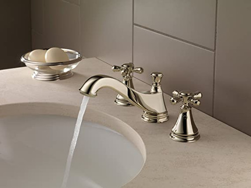 Delta  CASSIDY™ Two Handle Widespread Bathroom Faucet - Low Arc Spout - With Handles