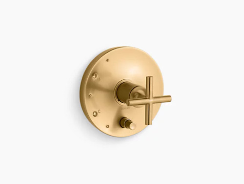 Kohler Purist® Rite-Temp® pressure-balancing valve trim with cross handles, valve not included