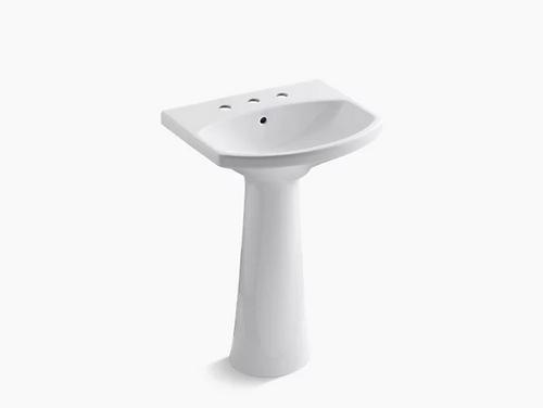 "Pedestal bathroom sink with 8"" widespread faucet holes"