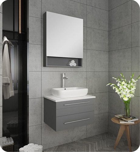"Weston 24"" Wall Mount Bathroom Vanity Grey"
