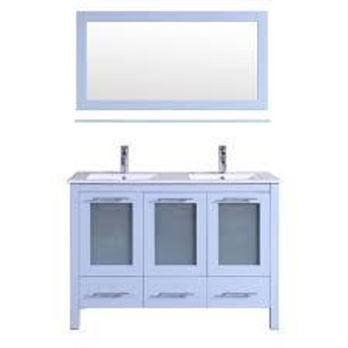 "Victoria 48"" Double Sink Bathroom Vanity White"