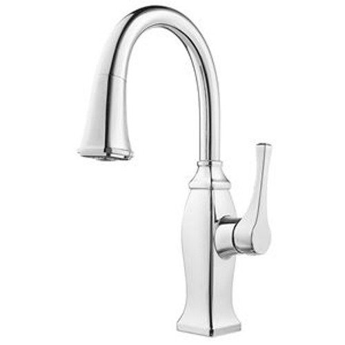 Pfister GT572-BFC Briarsfield Metal 1-Lever Handle Pulldown Spray Bar & Prep Kitchen Faucet, Polished Chrome
