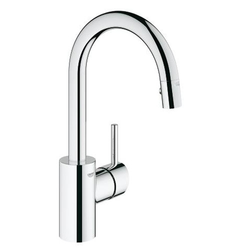 Grohe Concetto Single-Handle Kitchen Faucet Prep Sink Dual Spray Pull-Down Chrome Finish