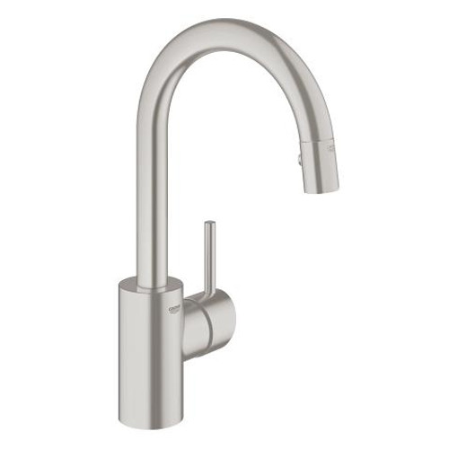 Grohe Concetto Single-Handle Kitchen Faucet Prep Sink Dual Spray Pull-Down SuperSteel Finish