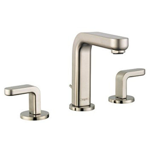 Hansgrohe Metris S Widespread Faucet with Lever Handles Brushed Nickel Finish