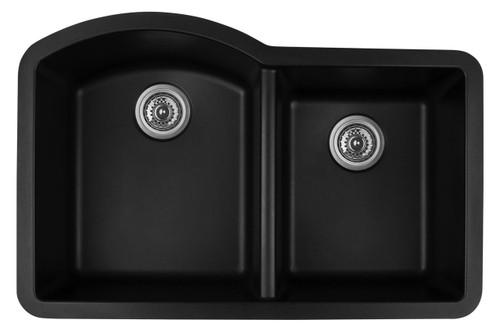 "Karran Double Bowl Undermount Kitchen Sink Black Finish 32""x 21"""
