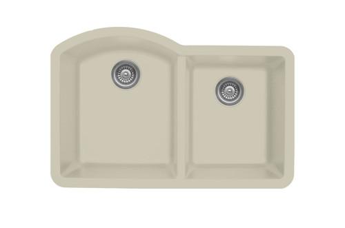 """Karran Double Bowl Undermount Kitchen Sink Bisque Finish 32""""x 21"""""""