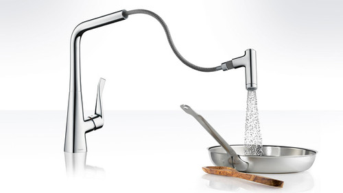 Hansgrohe Metris HighArc Kitchen Faucet 2 Spray Pull Chrome Finish