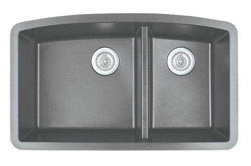 "Karran Double Bowl Undermount Kitchen Sink Grey Finish 32-1/2"" x 19-1/2"""