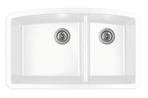 "Karran Double Bowl Undermount Kitchen Sink White Finish 32-1/2"" x 19-1/2"""