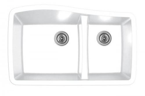 Karren Double Bowl Undermount Kitchen Sink White Finish 33-1/2  x 20  sc 1 st  York Taps & Karren Double Bowl Undermount Kitchen Sink White Finish 33-1/2