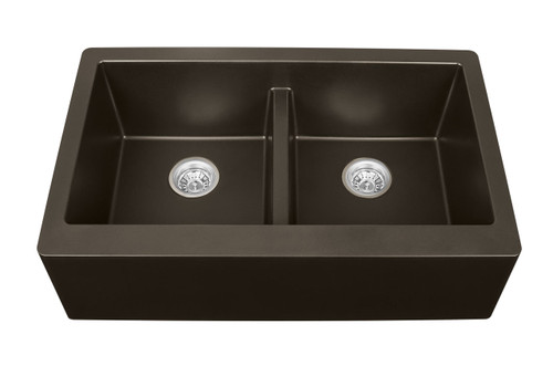 "Karran Double Equal Bowl Apron Front Kitchen Sink Brown Finish 34"" x 21-1/4"""