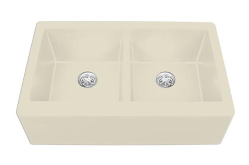 "Karran Double Equal Bowl Apron Front Kitchen Sink Bisque Finish 34"" x 21-1/4"""