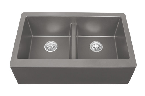 "Karran Double Equal Bowl Apron Front Kitchen Sink Concrete Finish 34"" x 21-1/4"" FLOOR MODEL DISPLAY"