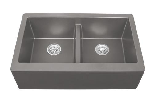 "Karran Double Equal Bowl Apron Front Kitchen Sink Concrete Finish 34"" x 21-1/4"" FLOOR MODEL DISPLAY"