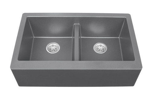 "Karran Double Equal Bowl Apron Front Kitchen Sink Grey Finish 34"" x 21-1/4"""