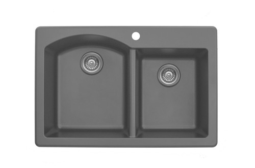 "Karran Double Bowl Top Mount Kitchen Sink Grey Finish 33"" x 22"""