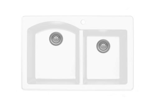 """Karran Double Bowl Top Mount Kitchen Sink White Finish 33"""" x 22"""""""
