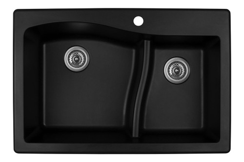 "Karran Double Bowl Top Mount Kitchen Sink Black Finish 33"" x 22""  QT-630"