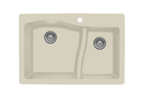 "Karran Double Bowl Top Mount Kitchen Sink Bisque Finish 33"" x 22""  QT-630"