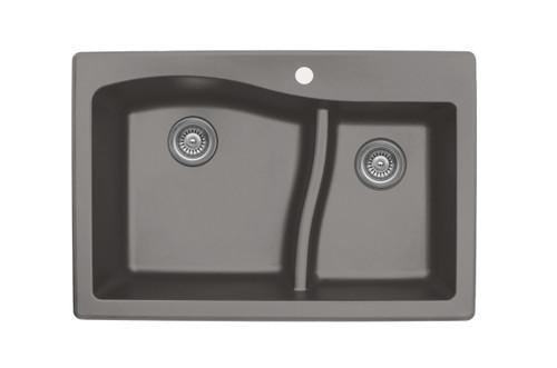 """Karran Double Bowl Top Mount Kitchen Sink Concrete Finish 33"""" x 22""""  QT-630"""