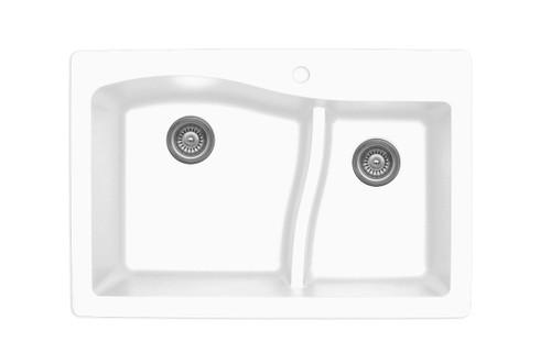 "Karran Double Bowl Top Mount Kitchen Sink White Finish 33"" x 22""  QT-630"
