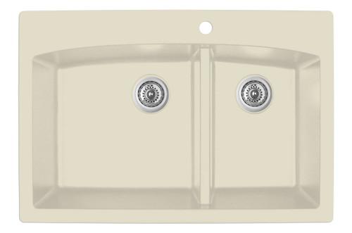 """Karran Double Bowl Top Mount Kitchen Sink Bisque Finish 33"""" x 22"""" QT-711"""